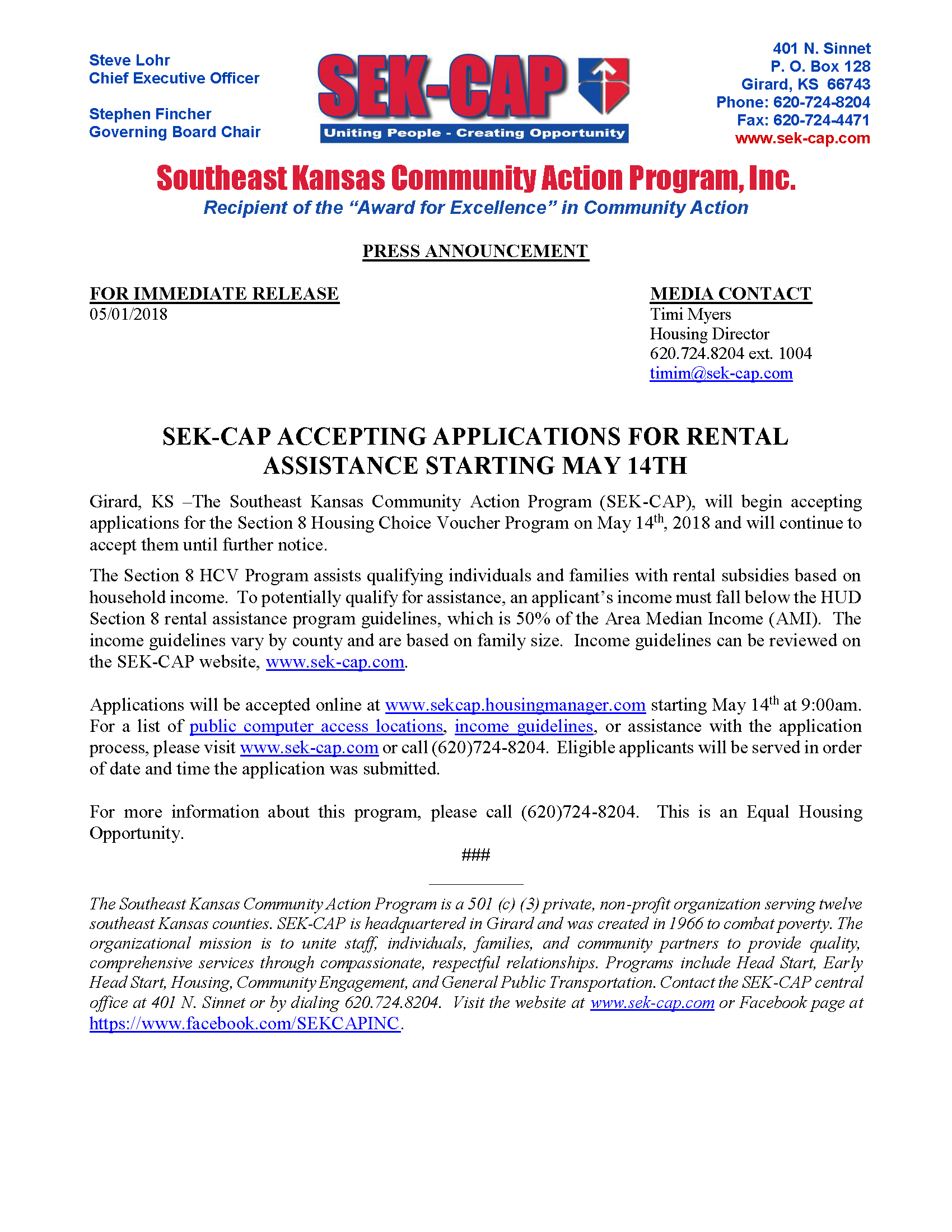 SEK-CAP Accepting Applications For Rental Assistance Starting May 14th 62ca3015ae8