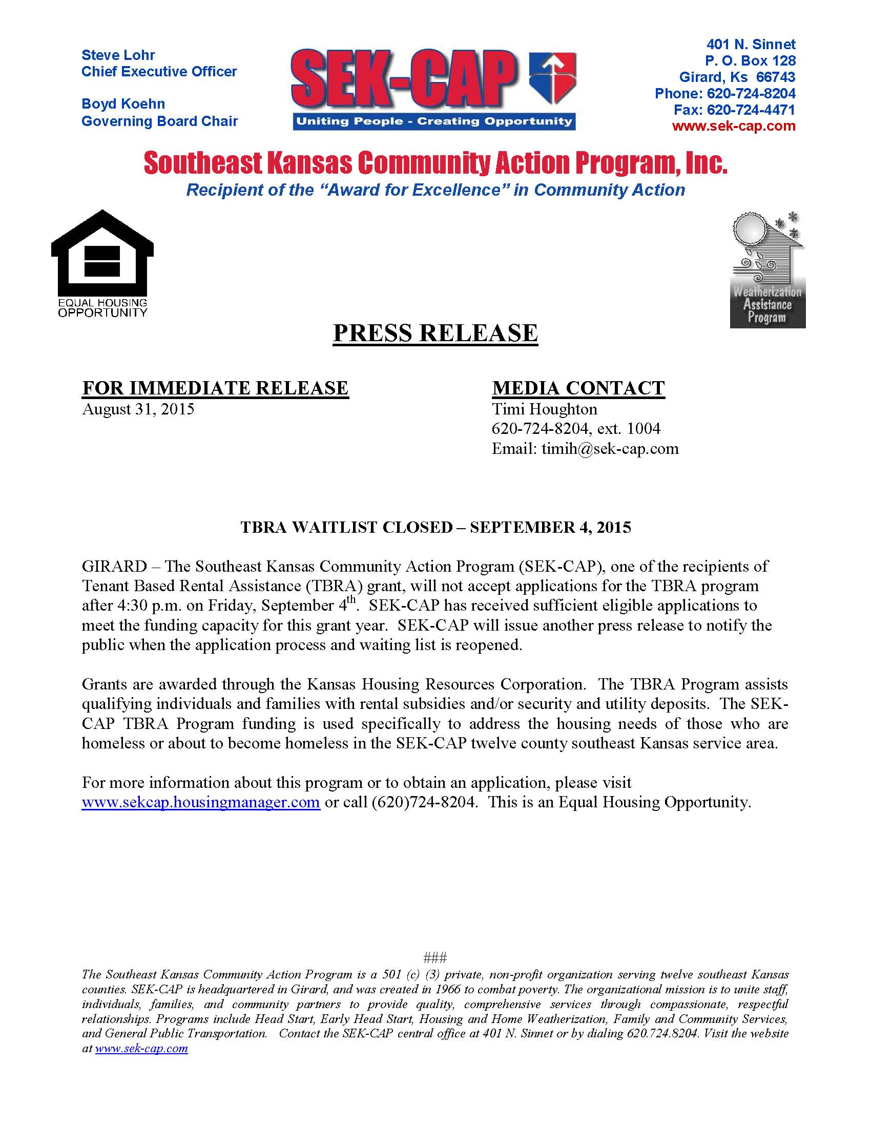 SEK CAP Press Release 8 31 2015 CLOSING TBRA WAITLIST